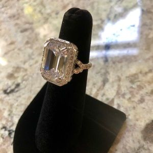 Women's CZ Size 5 cocktail ring rhodium plated